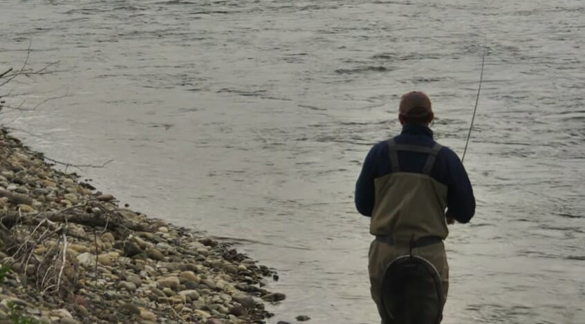 Fishing dry flies over gravel runs