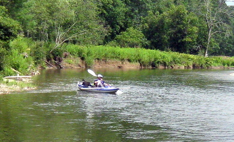 A biologist paddles an inflatable kayak on the Battenkill River.