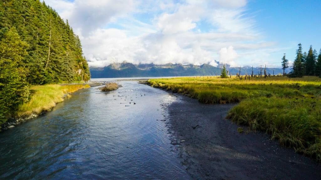 An Alaskan creek runs into Resurrection Bay.