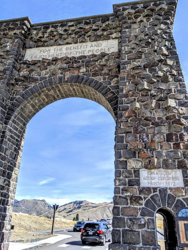 The famed Roosevelt Arch, Yellowstone National Park.