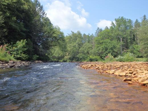 A Pennsylvania creek runs orange with mine pollution.