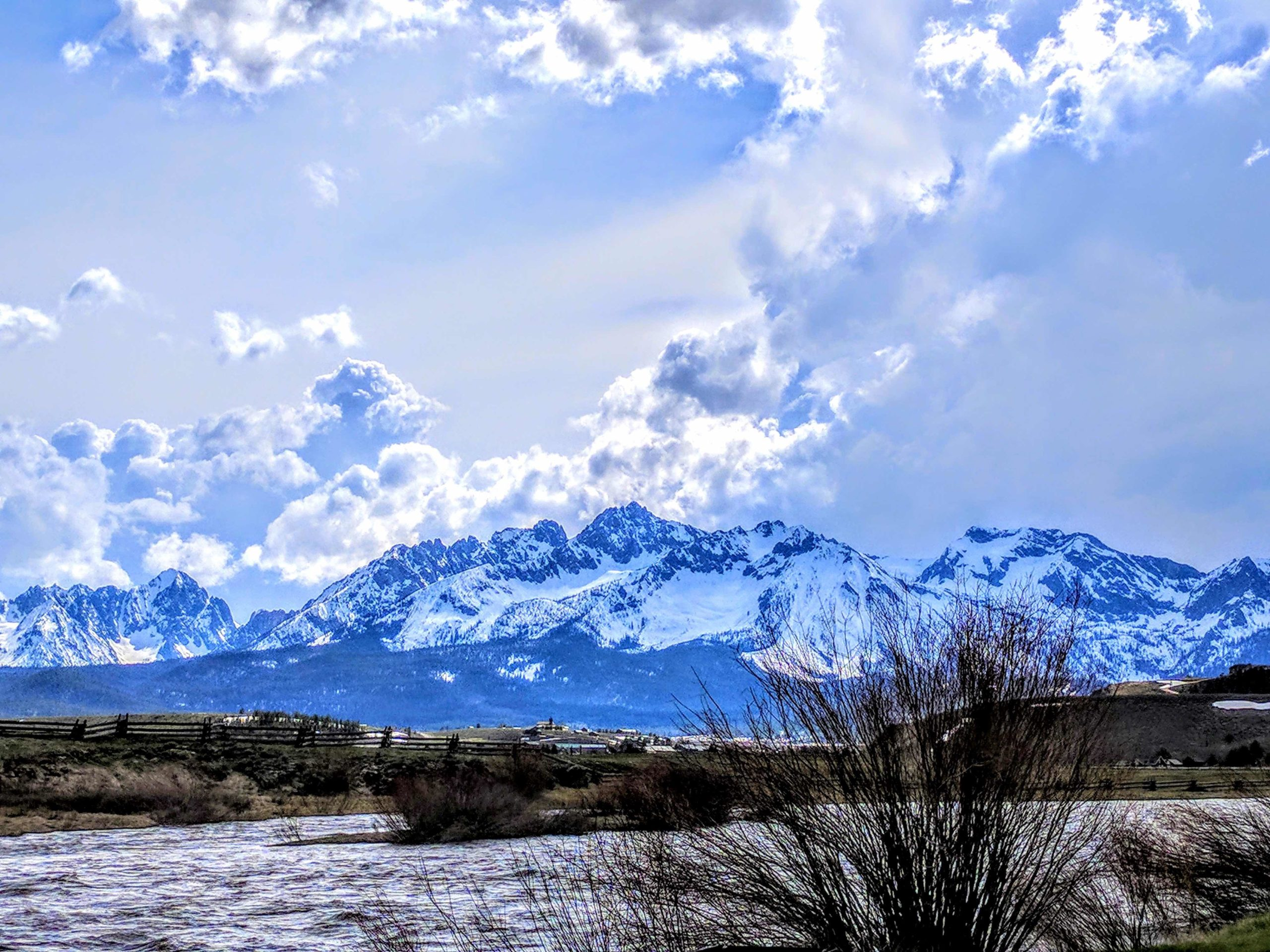 The Sawtooth Mountains above Stanley, Idaho.