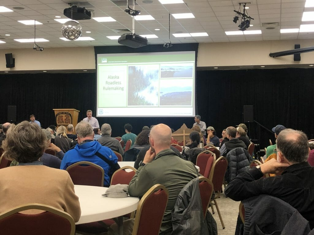 Residents of Juneau attend a Forest Service meeting.