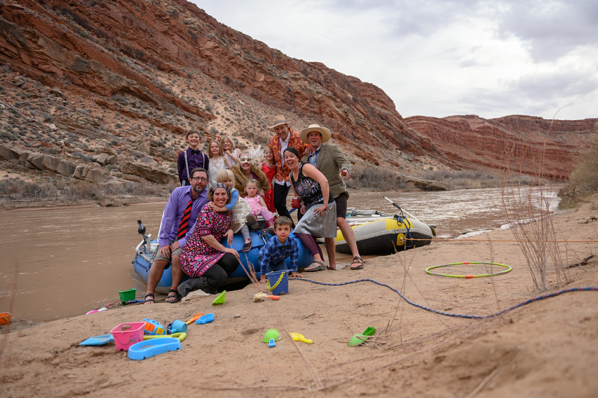 Family and friends raft a western river.