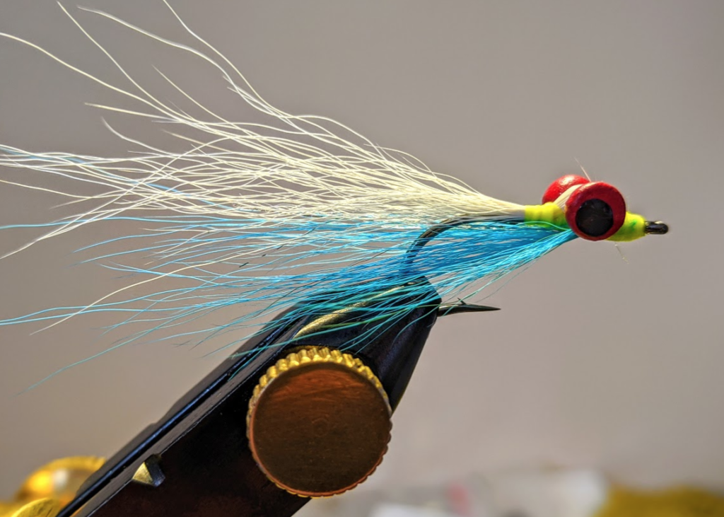 A blue and white Clouser minnow.