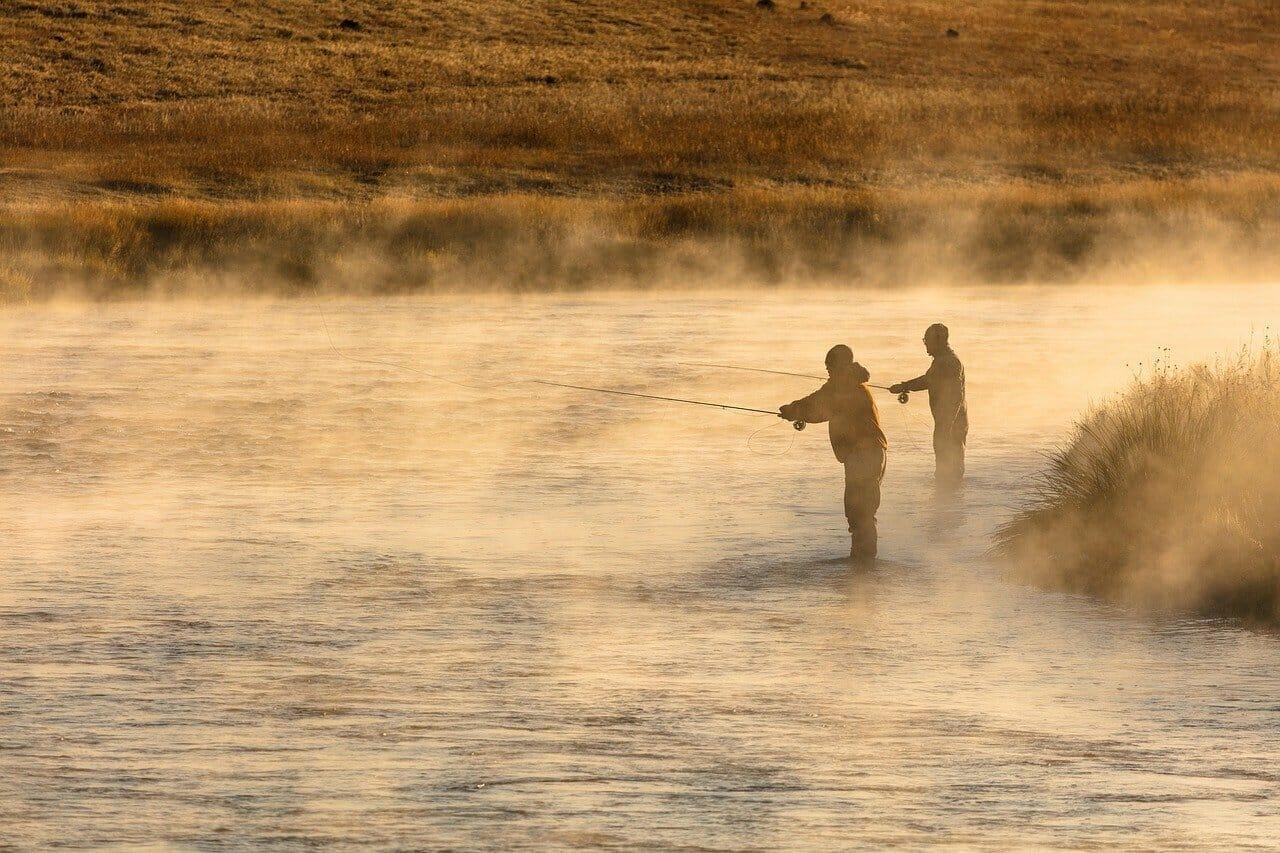 two men fly fishing