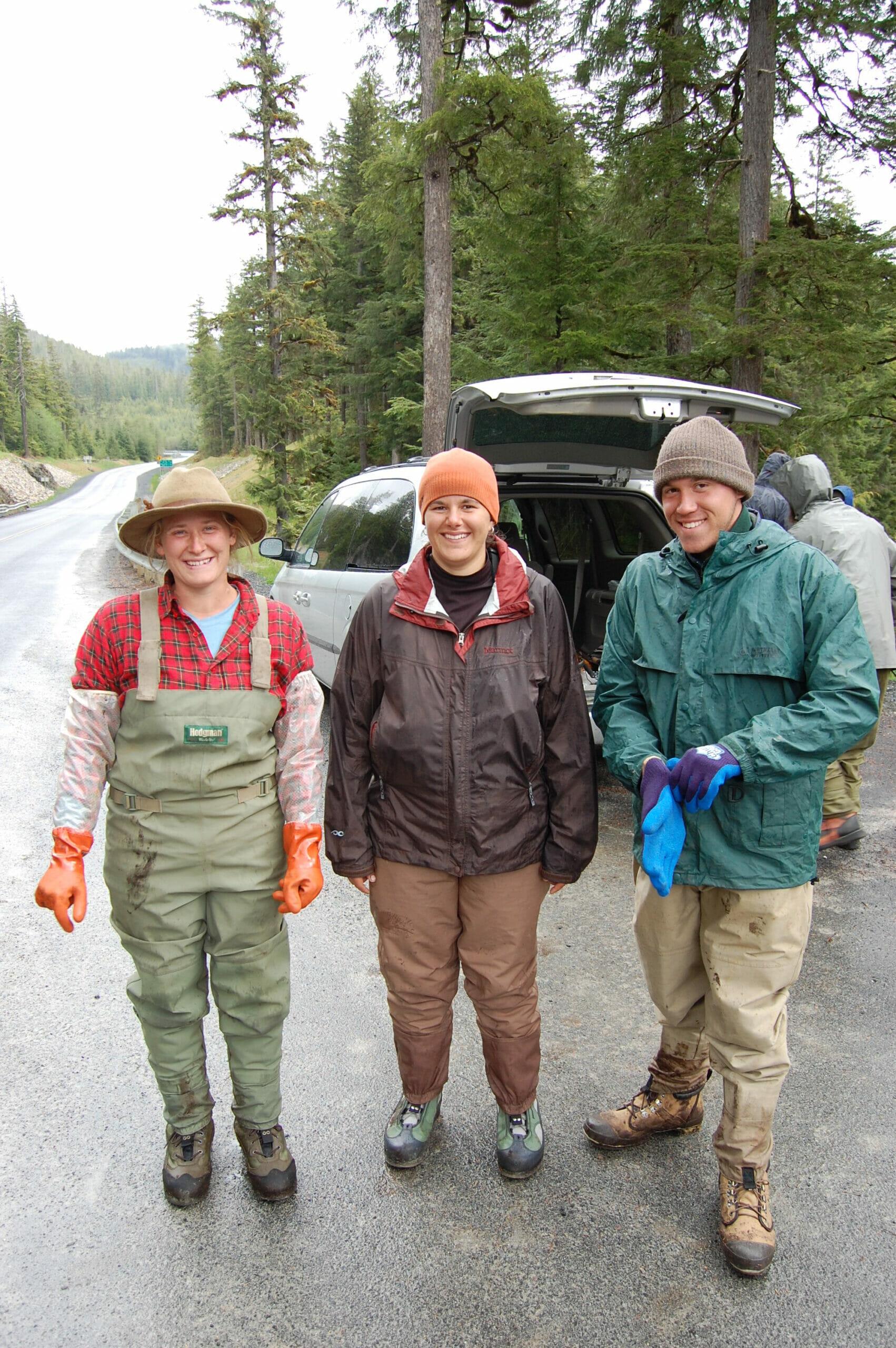 Three college students in Alaska.