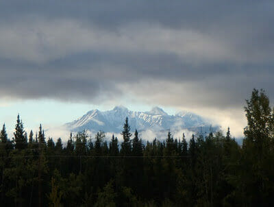 Denali shrouded in storm clouds