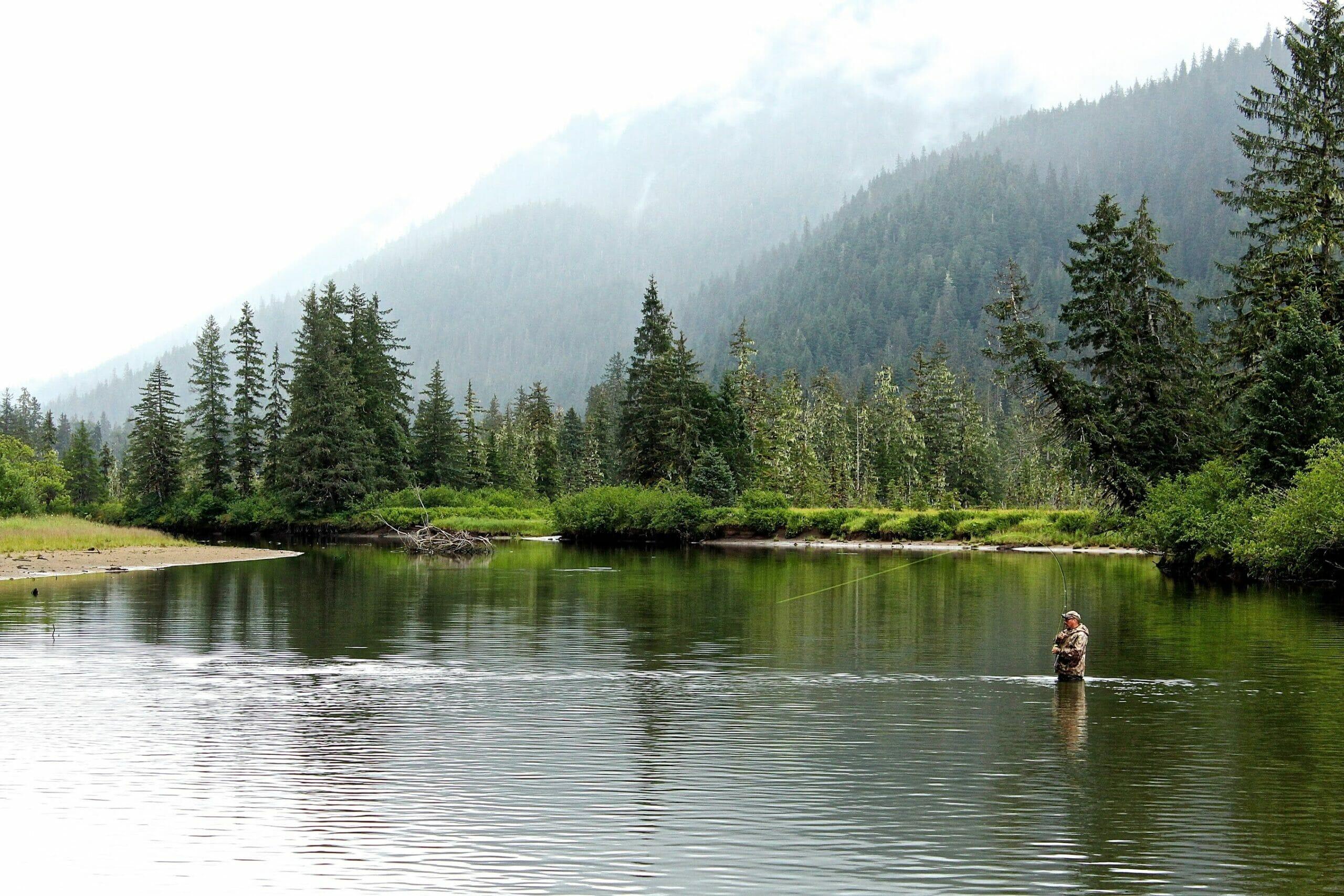 angler fly fishing Stikine River