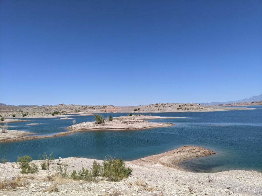 Lake Meade and its extremely low water levels.