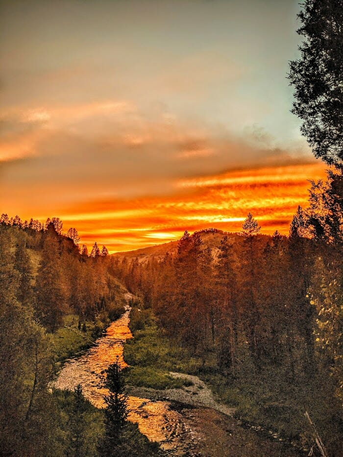 Sunset over a trout stream in Idaho.
